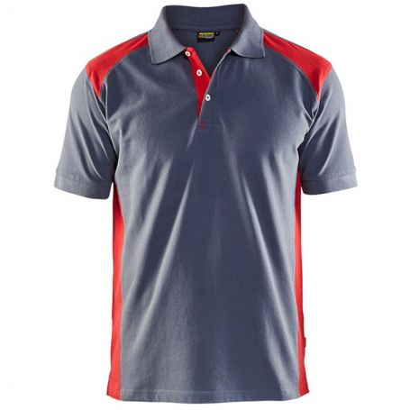Polo bicolore gris/rouge