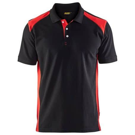 Polo bicolore noir/rouge